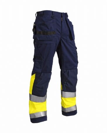 Blaklader 1529 High Visibility Trousers 65% Polyester, 35% Cotton (Navy Blue/Yellow)